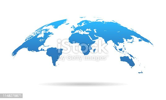 istock Global Curved World Map - Earth Planet Vector Illustration 1148275871