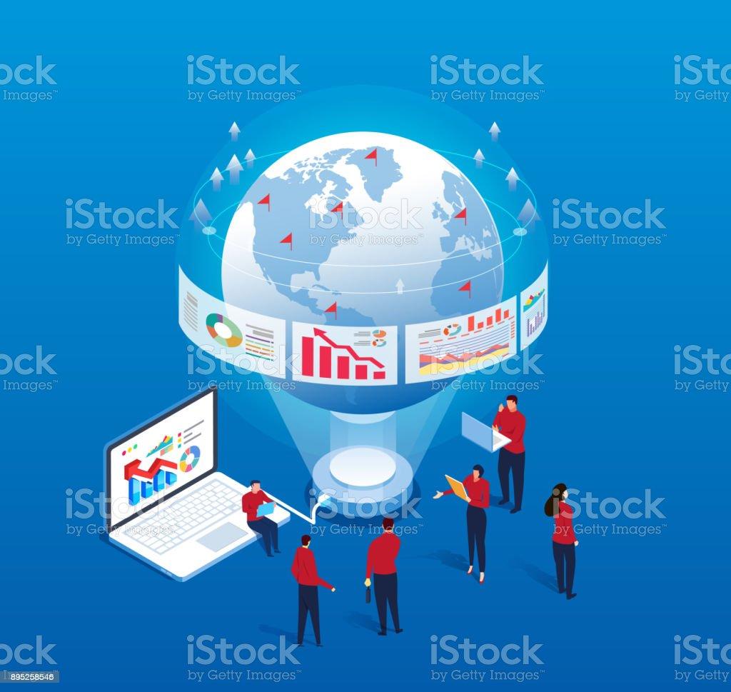 Global Data Analysis vector art illustration