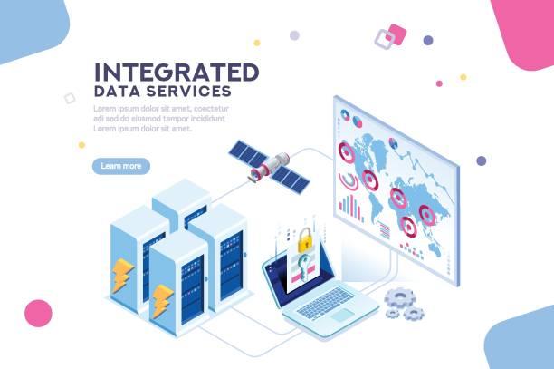 global data center isometric banner - industry infographics stock illustrations