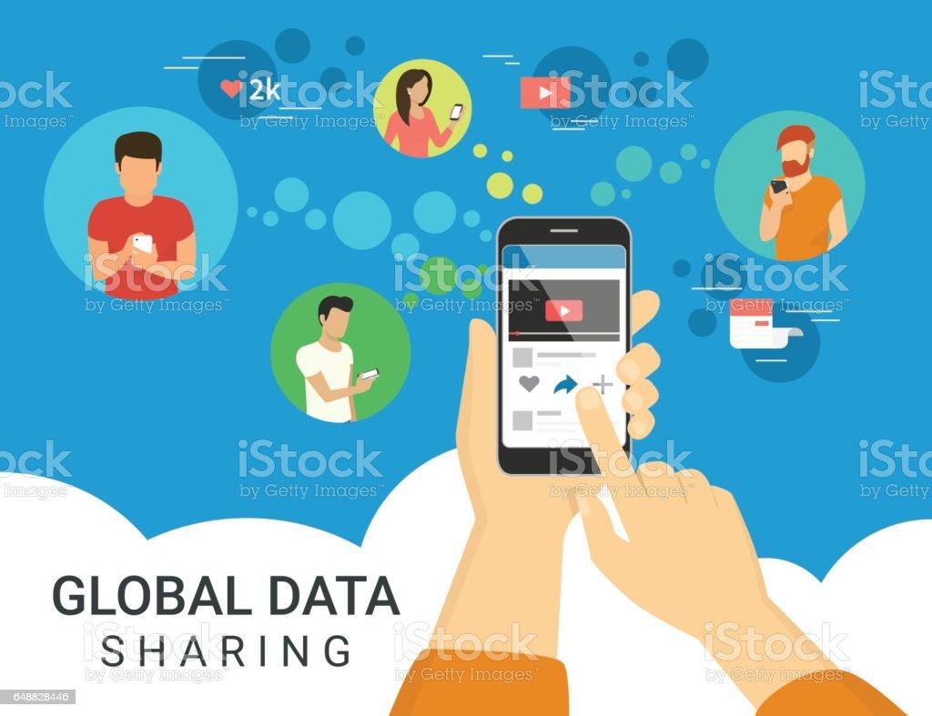 Global data sharing concept illustration