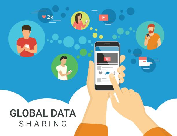 illustrations, cliparts, dessins animés et icônes de illustration de concept partage données globales - main téléphone