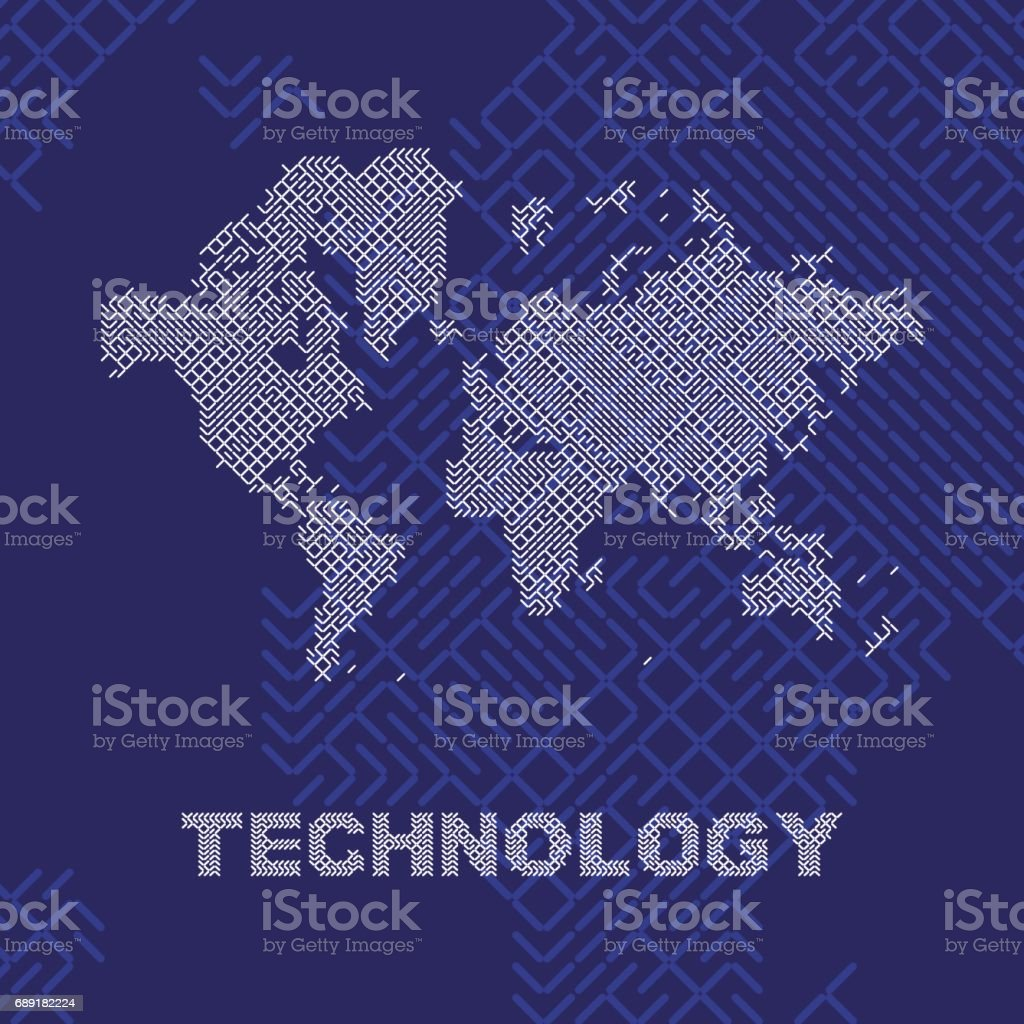 Global digital communications abstract world map flat vector global digital communications abstract world map flat vector illustration eps 10 royalty free global gumiabroncs Gallery