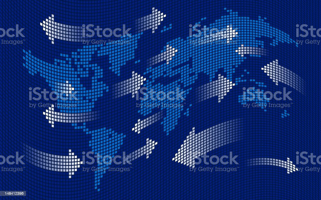 global digital communications vector art illustration