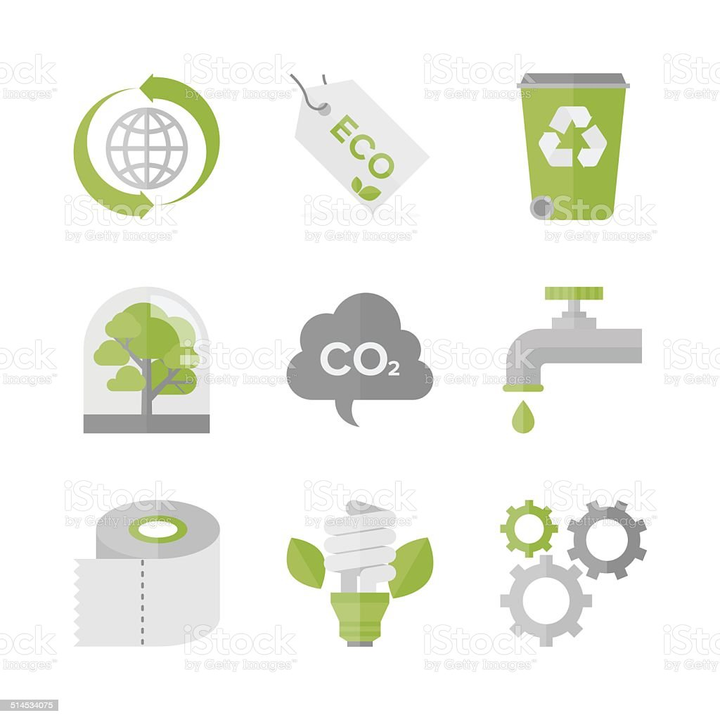 Global ecology and nature conservation flat icons set vector art illustration