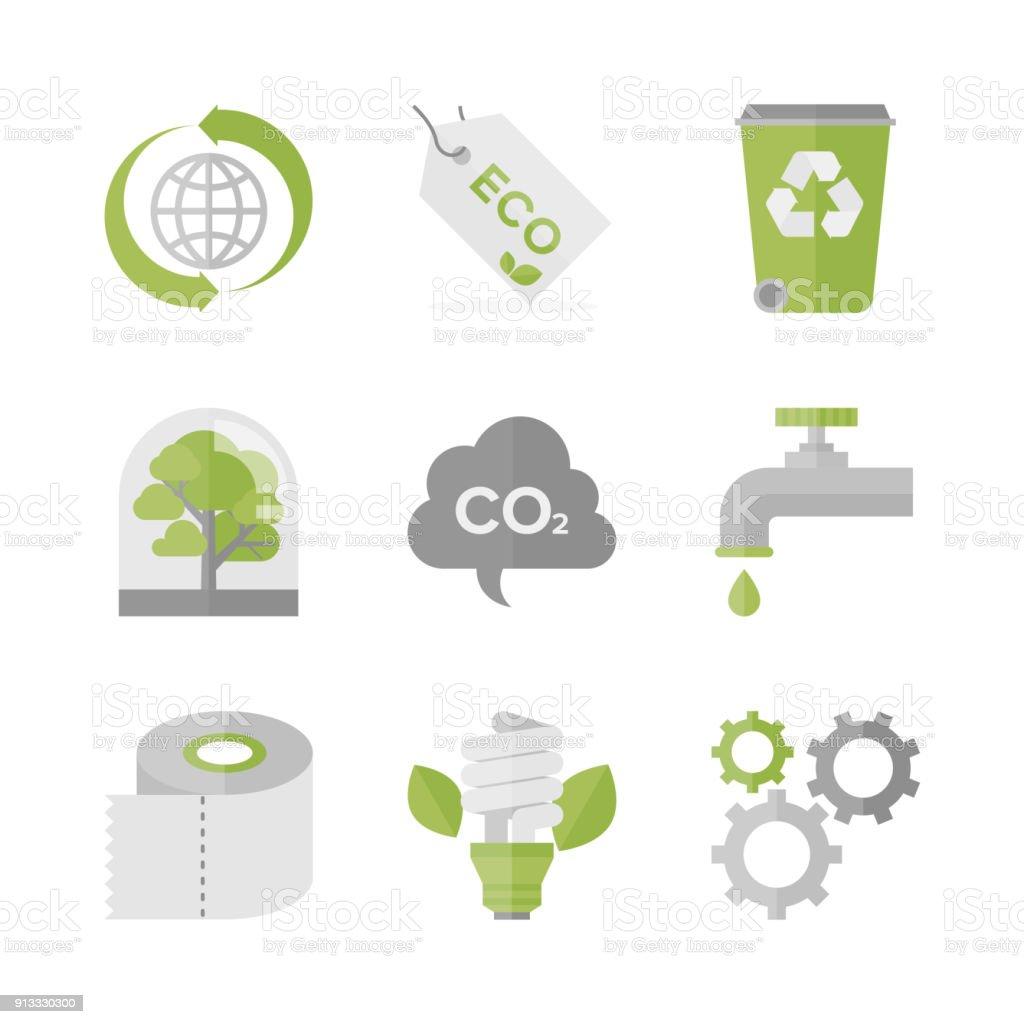 Global de l'écologie et ensemble de plat icônes de protection de la nature - Illustration vectorielle