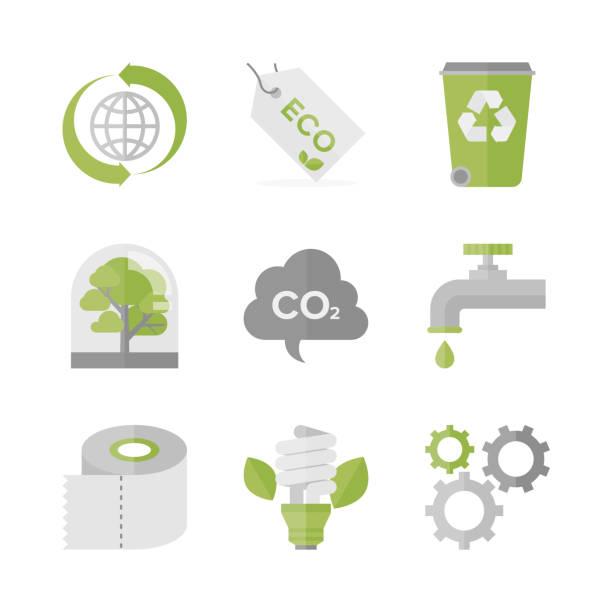 bildbanksillustrationer, clip art samt tecknat material och ikoner med global ekologi och natur bevarande platt ikoner set - co2