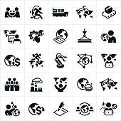 Icons related to the global economy. The icons include economists, economic growth, trade, handshake, shipping, global trade, international relations, industry, manufacturing, steel, earth, globe, world map, money and other related icons.