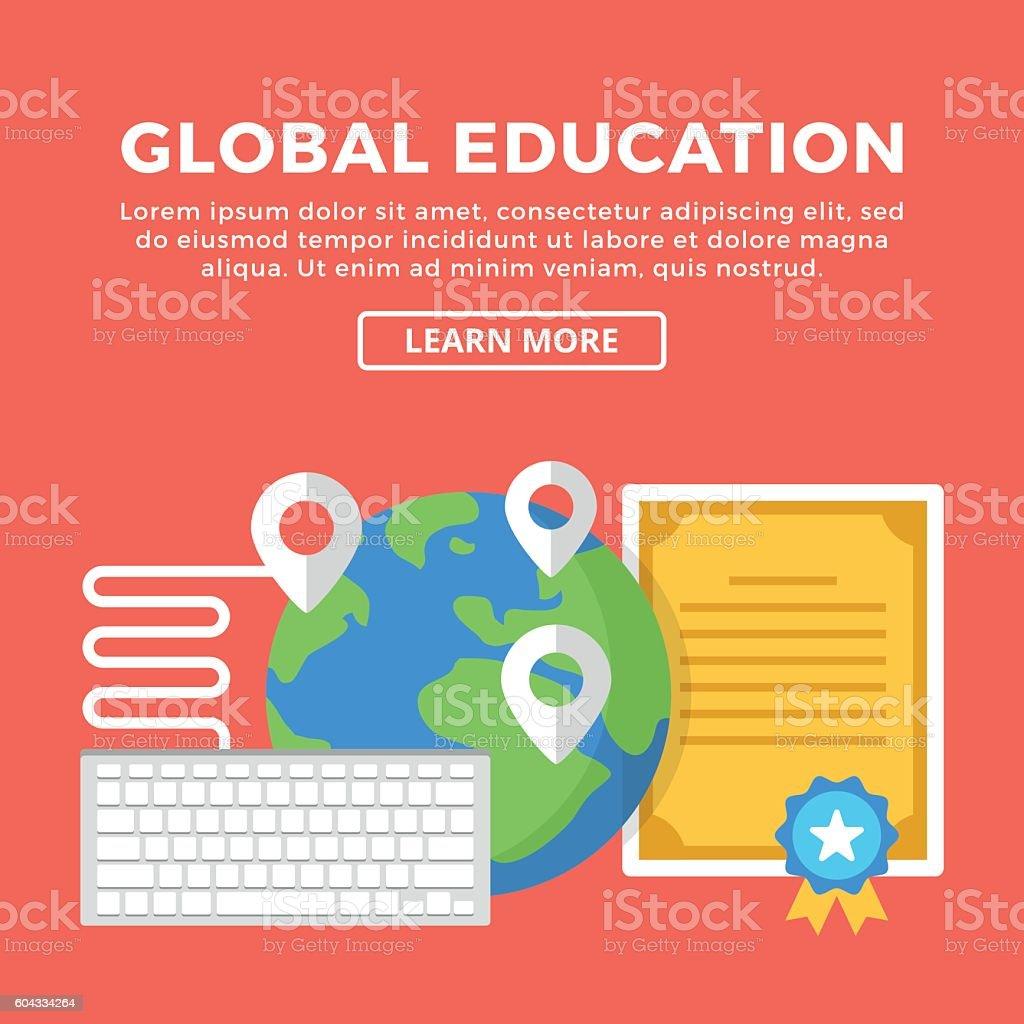 global education e learning concepts creative flat design vector illustration lizenzfreies global education