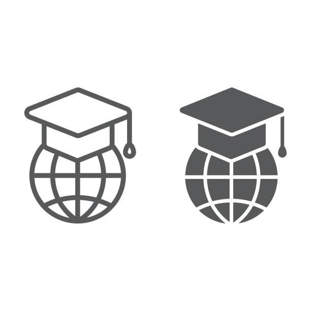 全球教育線和標誌符號, e 學習和教育, 畢業帽上的全球標誌向量圖形, 一個線性模式在白色背景, eps 10。 - 國際比賽 幅插畫檔、美工圖案、卡通及圖標