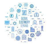 Global electricity demand outline style symbols on modern gradient background. Line vector icons for infographics, mobile and web designs.