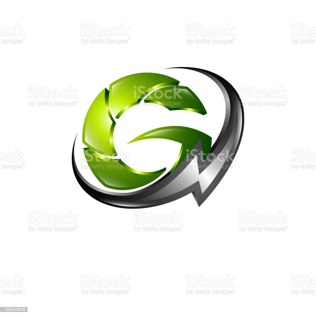 Global energy lightning initial letter G logo concept design template...
