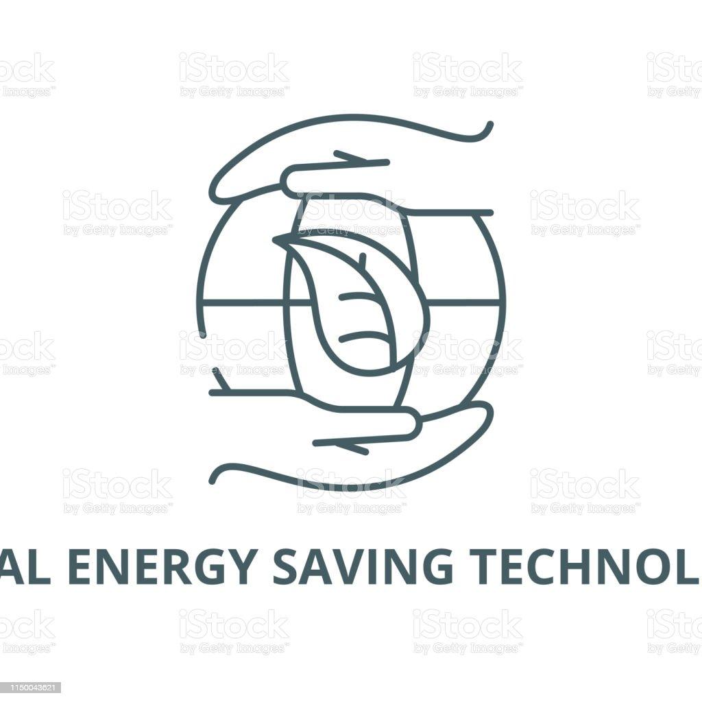 Global energy saving technologies vector line icon, outline concept,...