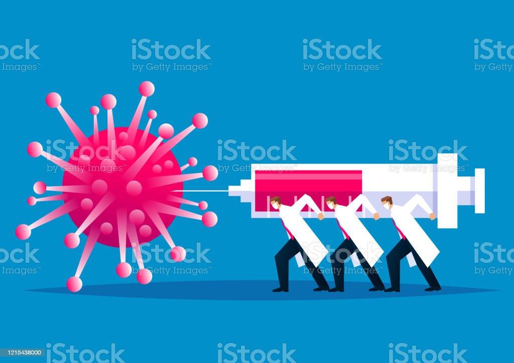 전염병에 대한 글로벌 싸움, 의료 및 과학 직원은 새로운 코로나 바이러스 폐렴, 새로운 코로나 바이러스를 주입하기 위해 거대한 주사기를 들고 사업가의 그룹 싸움 - 로열티 프리 COVID-19 벡터 아트