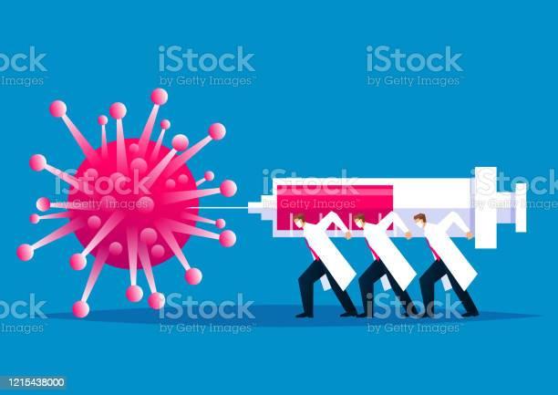 전염병에 대한 글로벌 싸움 의료 및 과학 직원은 새로운 코로나 바이러스 폐렴 새로운 코로나 바이러스를 주입하기 위해 거대한 주사기를 들고 사업가의 그룹 싸움 COVID-19에 대한 스톡 벡터 아트 및 기타 이미지