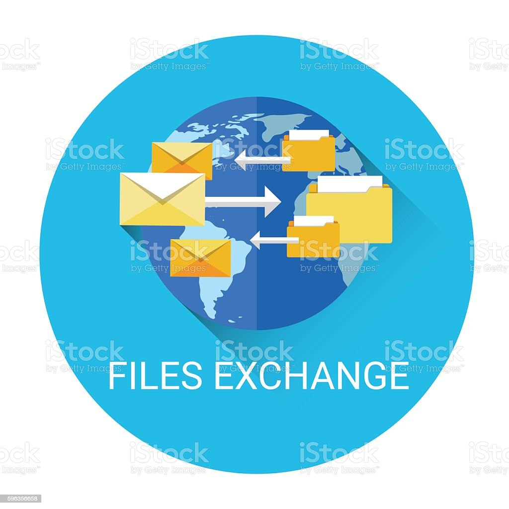 Global Files Exchange Data Share System Business Icon royalty-free global files exchange data share system business icon stock vector art & more images of business