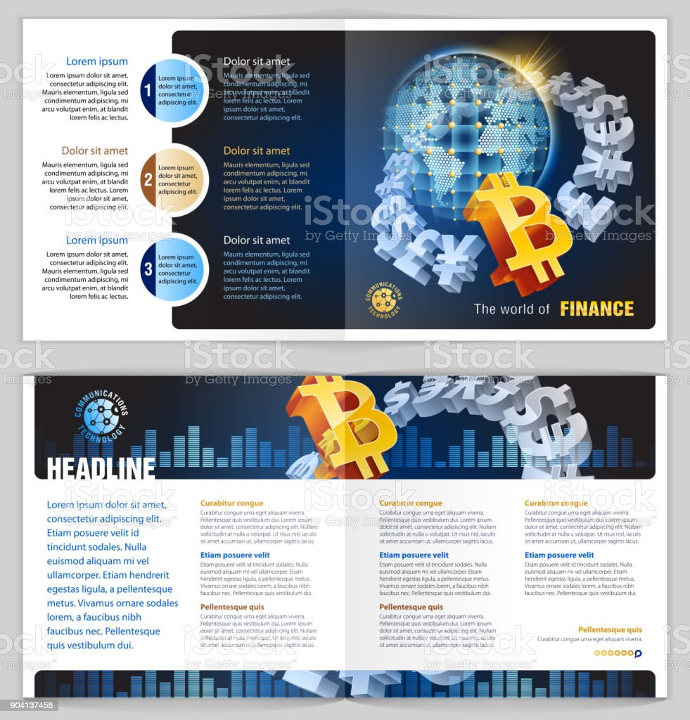 Global finance bitcoin vector art illustration