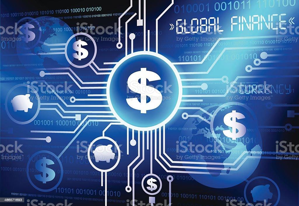 Global Finance dollar currency vector art illustration
