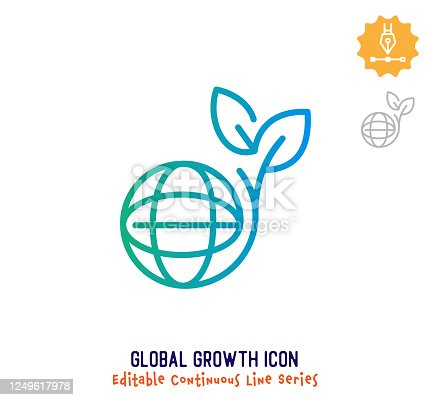 istock Global Growth Continuous Line Editable Icon 1249617978