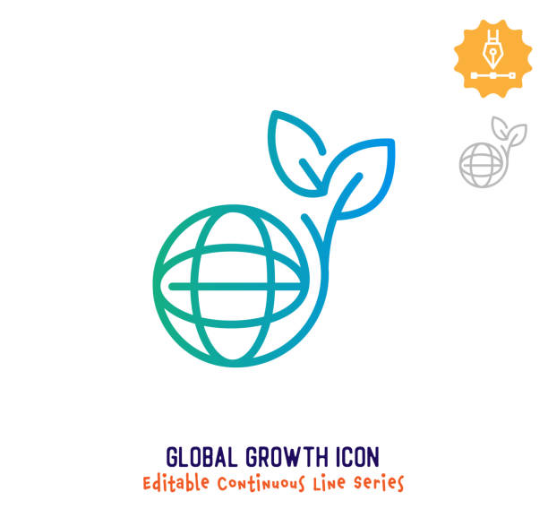 global growth continuous line editable icon - sustainability icons stock illustrations