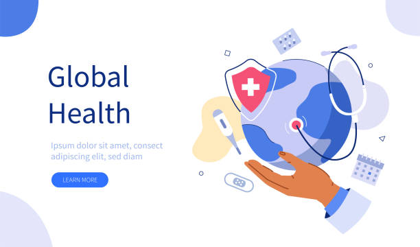 global health Doctors Hand Holding Planet Earth with Stethoscope around. Online Medical Services and Global Health Care Concept. Flat Cartoon Vector  Illustration. world health day stock illustrations