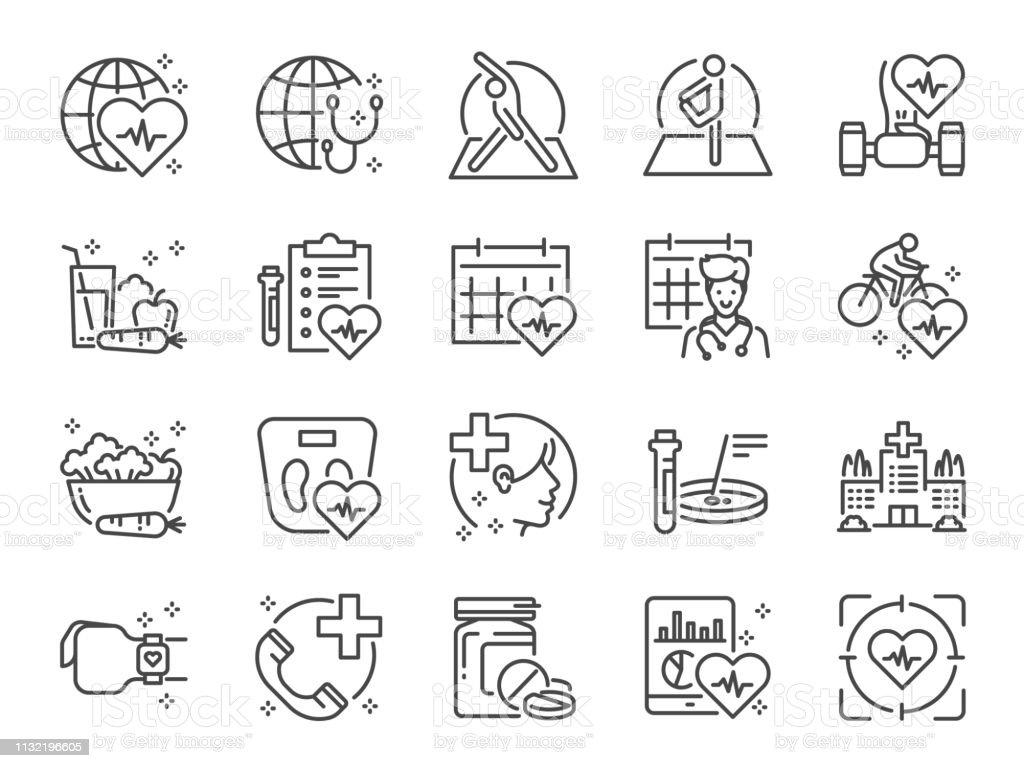 Ensemble d'icônes de ligne de soins de santé globale. Inclus des icônes comme exercice, bilan de santé, nourriture saine, centre de bien-être, médecin et plus encore. - clipart vectoriel de Affaires libre de droits
