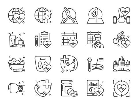 Ensemble Dicônes De Ligne De Soins De Santé Globale Inclus Des Icônes Comme Exercice Bilan De Santé Nourriture Saine Centre De Bienêtre Médecin Et Plus Encore Vecteurs libres de droits et plus d'images vectorielles de Affaires