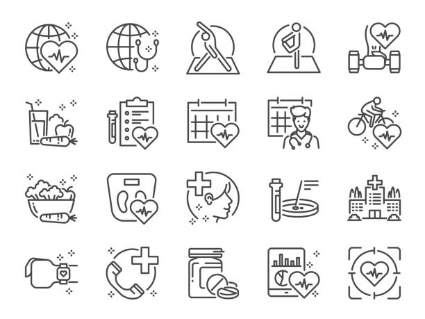 ilustrações de stock, clip art, desenhos animados e ícones de global healthcare line icon set. included icons as exercise, health check, healthy food, wellness center, doctor and more. - alimentação saudável