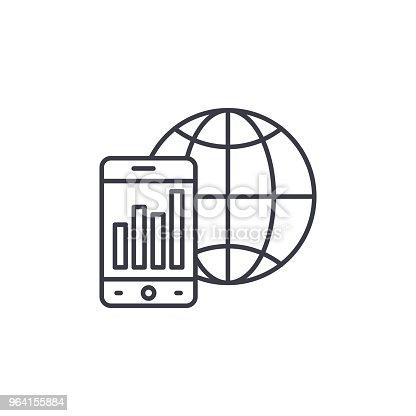 Global indicators line icon, vector illustration. Global indicators linear concept sign.
