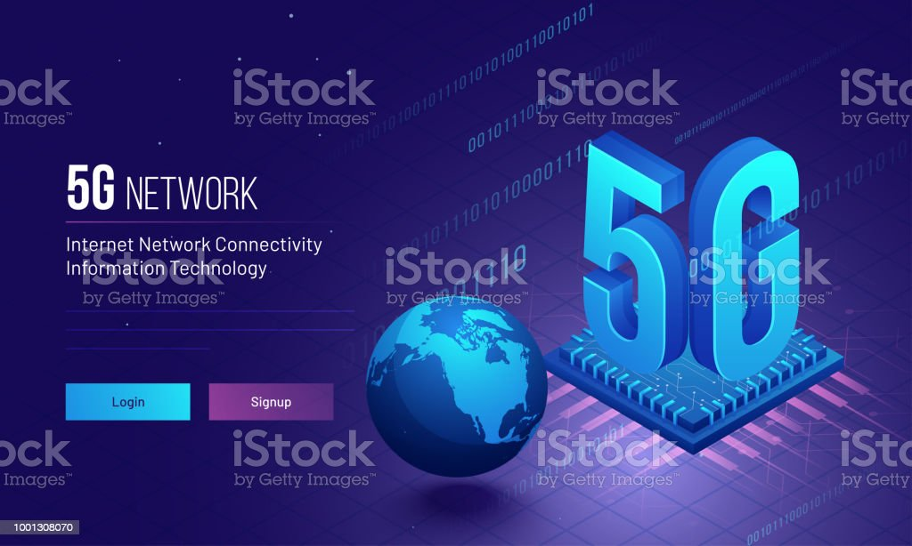 Global Internet 5G Network Connectivity concept based responsive landing page design with binary coding and processor chip illustration. vector art illustration