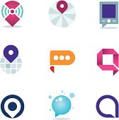Global internet community in home system positioning logo icon