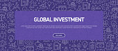 Global Investment Concept - Business Related Seamless Pattern Web Banner