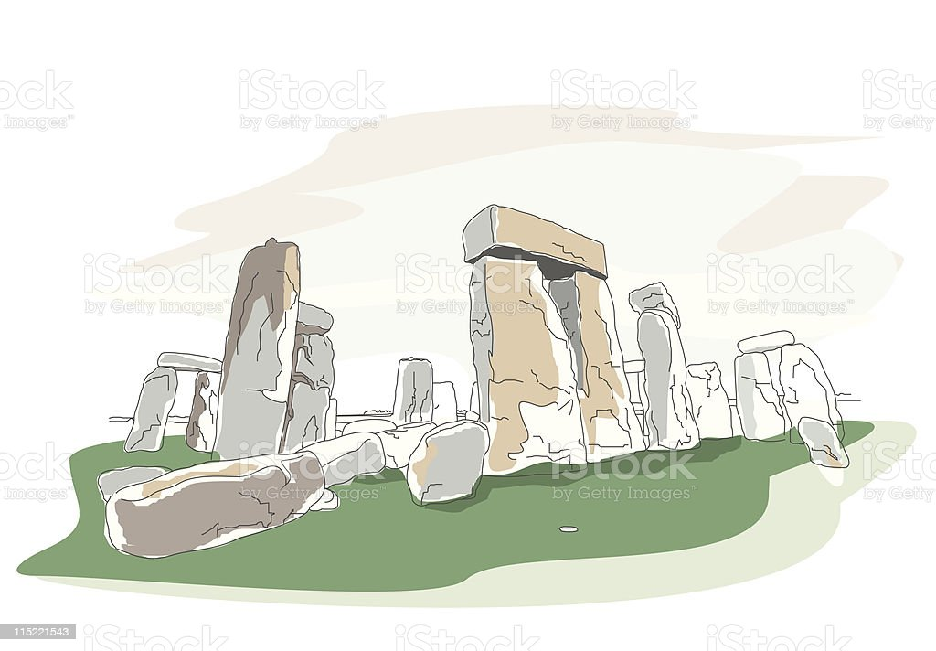 global landmarks - stonehenge vector art illustration