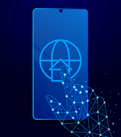 global, location, map vector icon. Polygon style touch phone vector