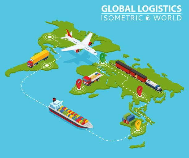 Global Logistic Isometric Vehicle Infographic. Ship Cargo Truck Van Logistics Service. Import Export Chain. Ensured Deliveries Drawing. Distribute Objects Shipment Vector. Fast Delivery Shipping vector art illustration