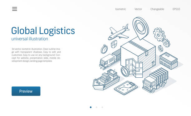 Global logistic service modern isometric line illustration. Export, import, warehouse business, transport sketch drawn icons. Box storage, distribution, cargo delivery concept. vector art illustration