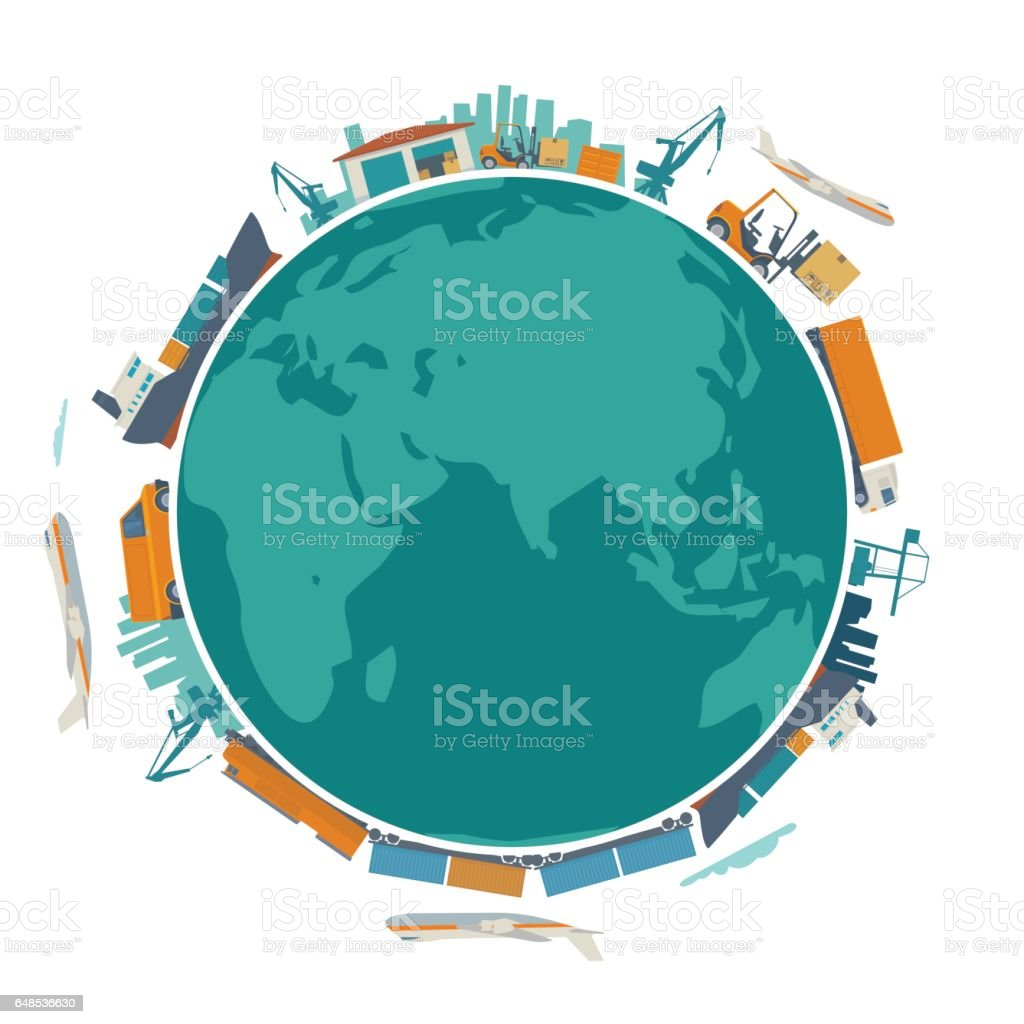 Global logistic, shipping and worldwide delivery business concept - production process from factory to the shop.  Earth planet globe surrounded plane, train, ship, warehouse. Flat vector illustration. vector art illustration
