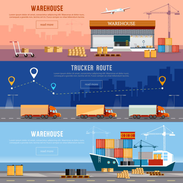 Global logistics. Cargo transportation vector art illustration