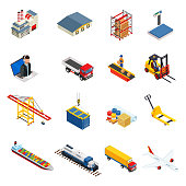 Global logistics isometric icons set of different transportation distribution vehicles and delivery elements isolated vector illustration. Logistic and delivery icon set isolated on white