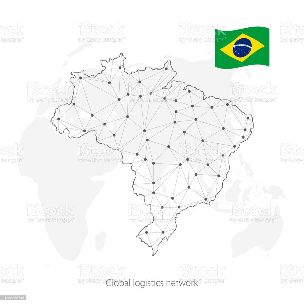 Brasilien Karte Welt.Globale Logistiknetzwerkkonzept Kommunikationnetzwerkkarte Brasilien