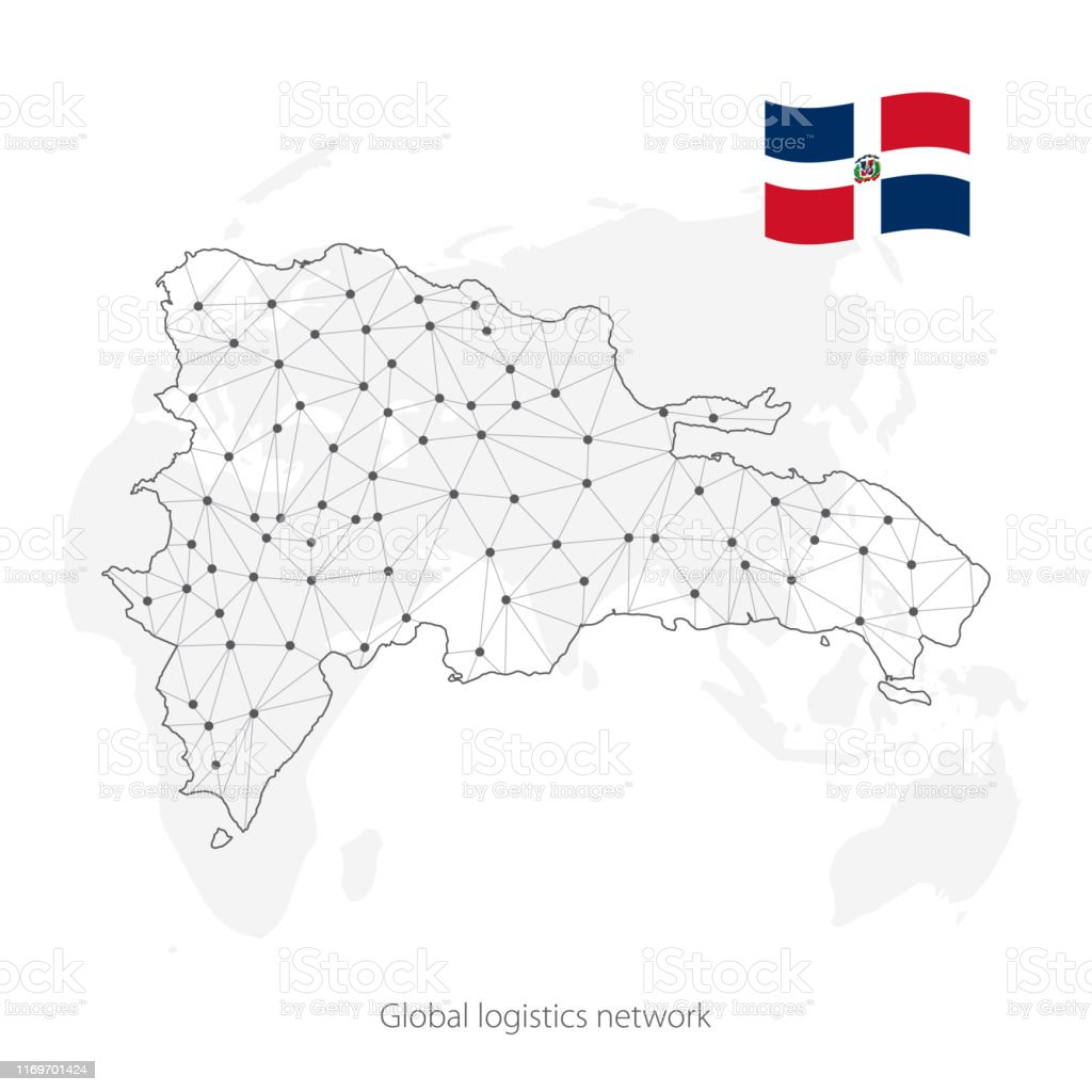 Picture of: Global Logistics Network Concept Communications Network Map Dominican Republic On The World Background Map Of Dominican Republic With Nodes In Polygonal Style And Flag Vector Illustration Eps10 Stock Illustration Download Image