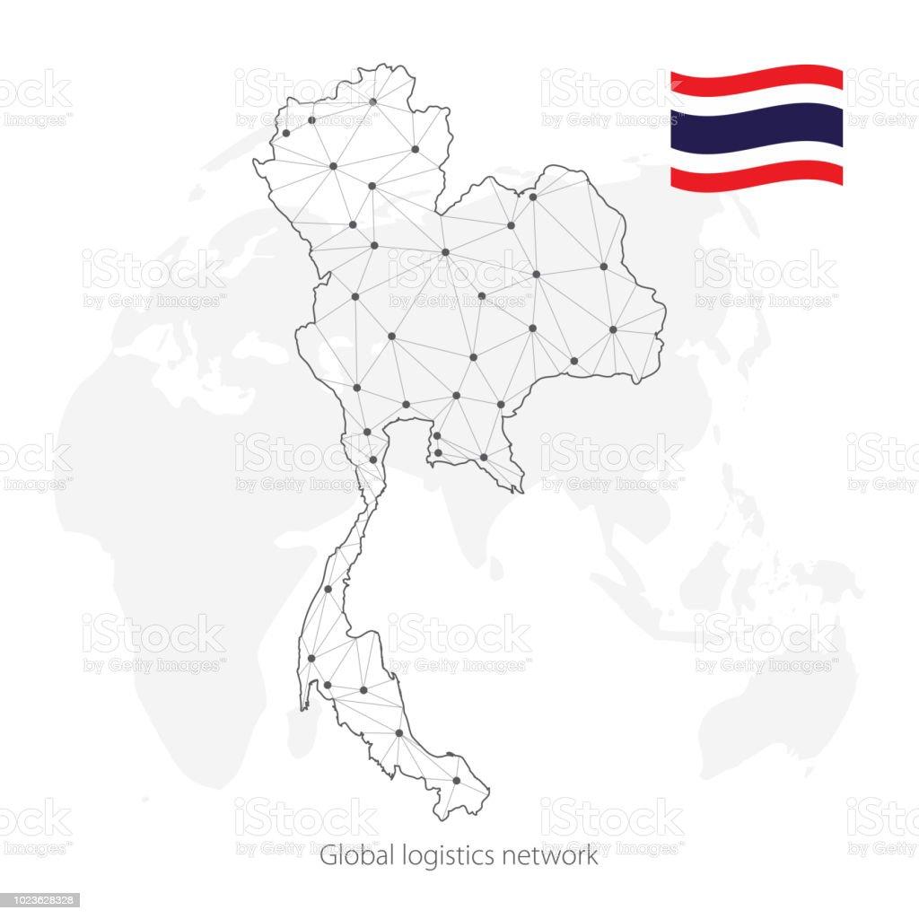 Thailand Karte Welt.Globale Logistiknetzwerkkonzept Kommunikationnetzwerkkarte