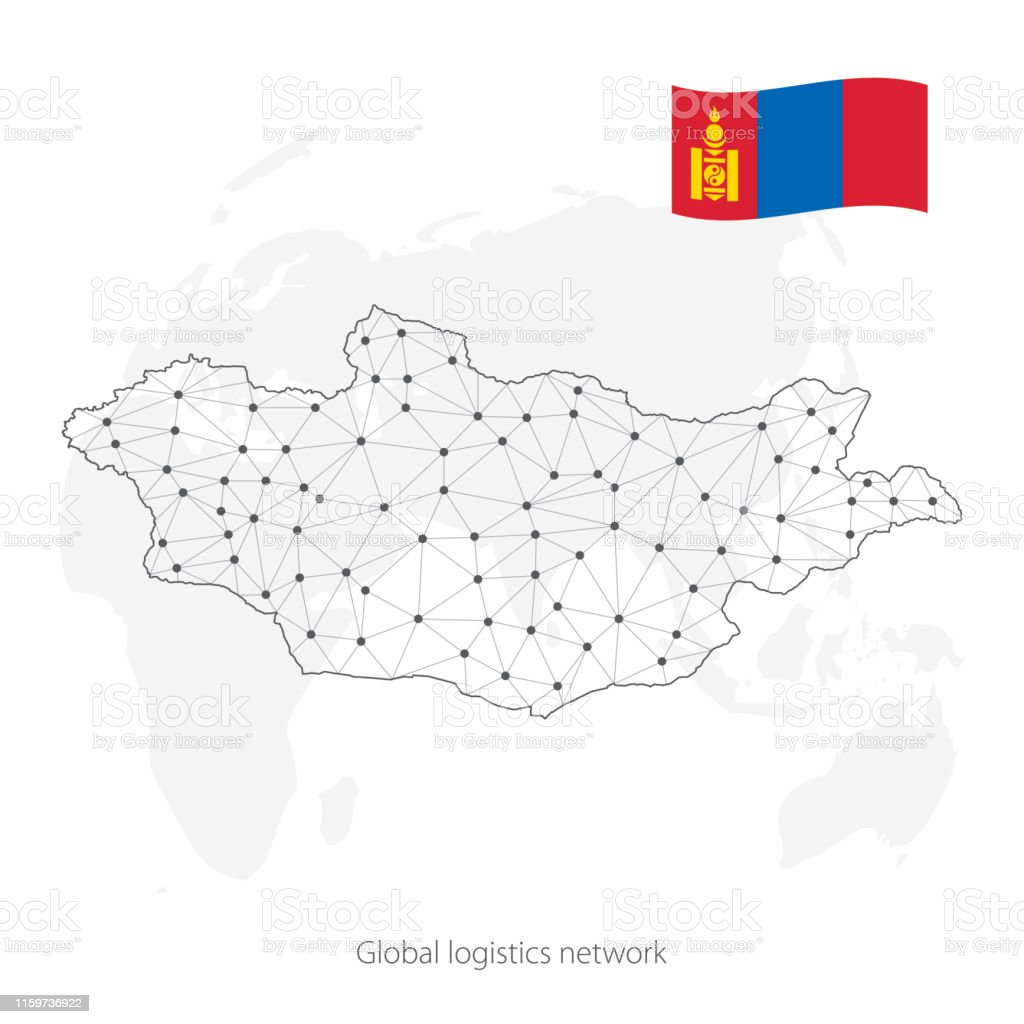 Picture of: Global Logistics Network Concept Communications Network Map Mongolia On The World Background Map Of Mongolia With Nodes In Polygonal Style And Flag Vector Illustration Eps10 Stock Illustration Download Image Now Istock