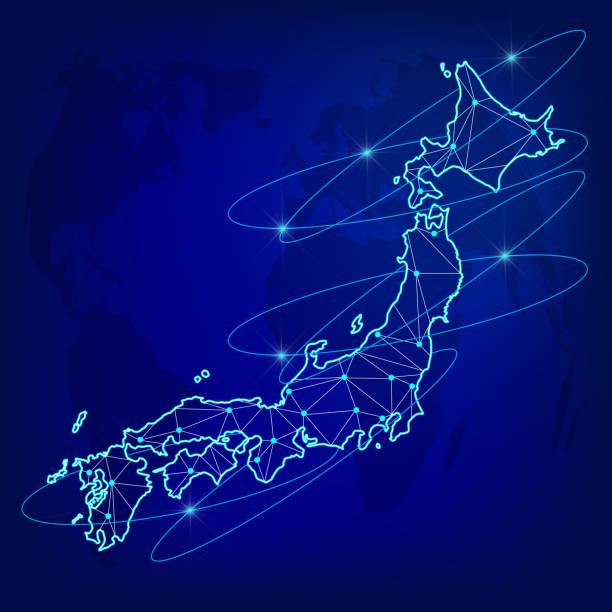 グローバル物流ネットワークの概念。世界の背景に日本の通信ネットワーク マップ。多角形のスタイルでノードを持つ日本のマップ。ベクトル イラスト eps10。 - 日本 地図点のイラスト素材/クリップアート素材/マンガ素材/アイコン素材
