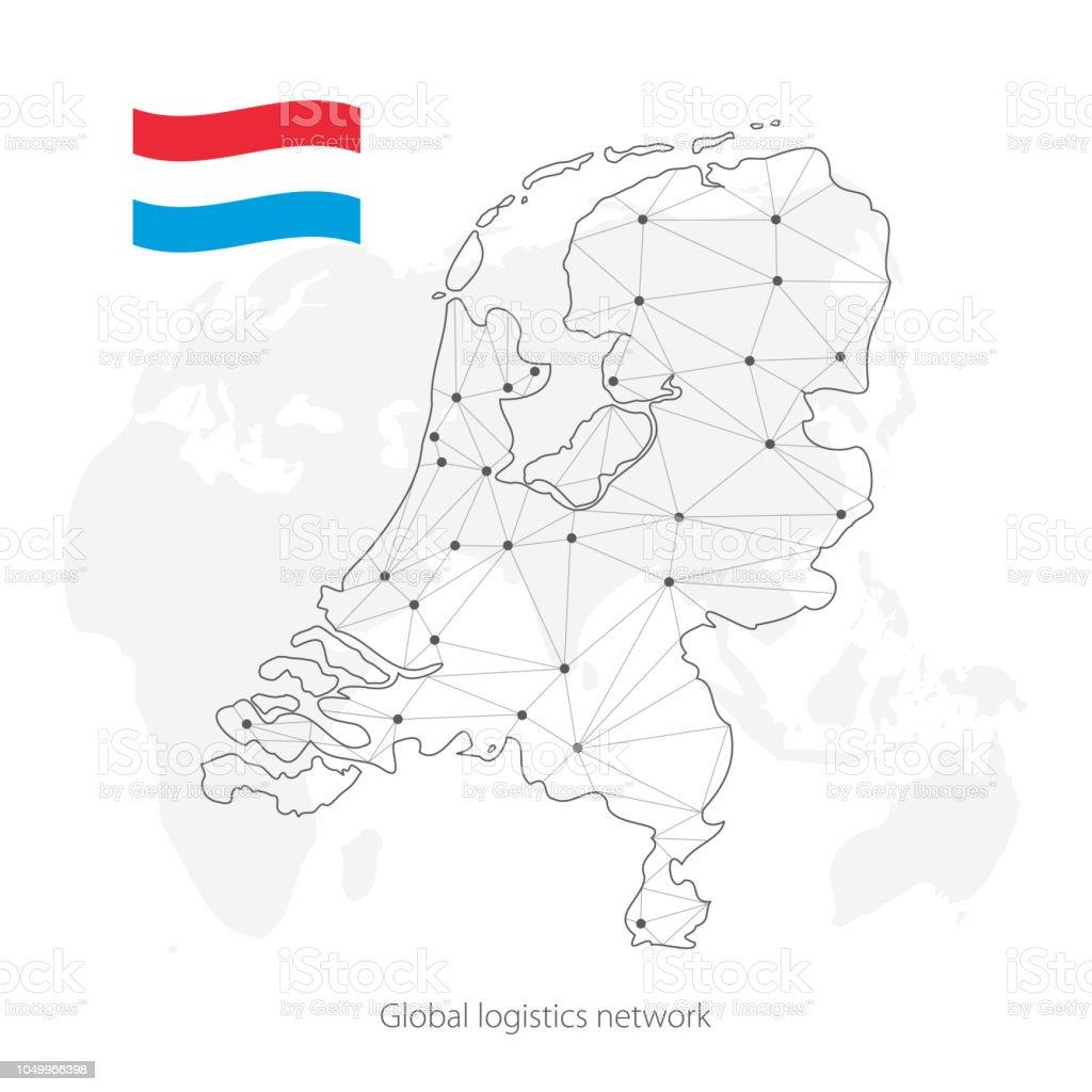 Niederlande Karte Welt.Globale Logistiknetzwerkkonzept Kommunikationnetzwerkkarte