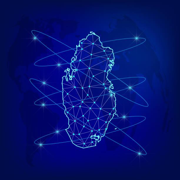 illustrations, cliparts, dessins animés et icônes de concept de réseau logistique mondial. carte du réseau de communication qatar sur le fond mondial. carte du qatar avec des nœuds dans le style polygonal. illustration vectorielle eps10. - doha