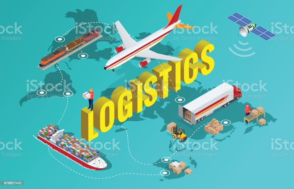 Global logistics network Flat 3d isometric vector illustration Set of air cargo trucking rail transportation maritime shipping On-time delivery Vehicles designed to carry large numbers of China cargo vector art illustration