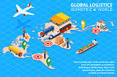 Global logistics network Flat 3d isometric vector illustration Set of air cargo trucking rail transportation maritime shipping On-time delivery Vehicles designed to carry large numbers of China cargo.