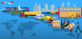 Global logistics network. Flat vector illustration. Air cargo trucking, rail transportation, maritime shipping, warehouse, freight, delivery man, container ship. Vehicles designed to carry large numbers cargo.