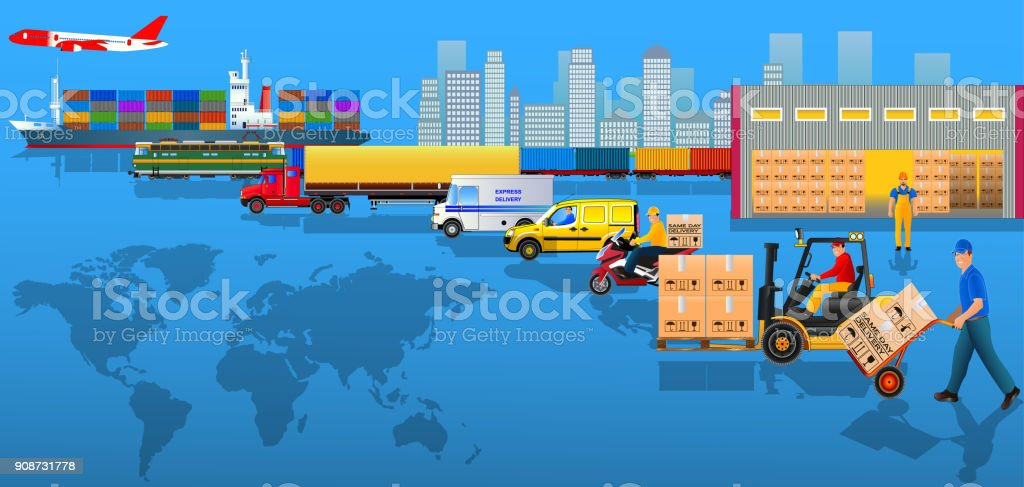 Global logistics network. Flat vector illustration. Cargo delivery vector art illustration