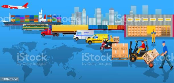 Globale Logistiknetzwerk Flache Vektorillustration Frachtlieferung Stock Vektor Art und mehr Bilder von Auslieferungslager